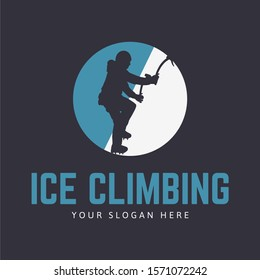 Ice climbing logo template with climber silhouette and circle