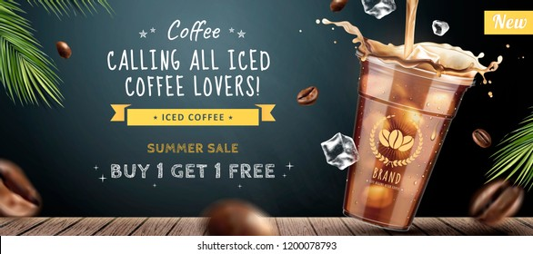 Ice coffee banner ads with takeaway cup coffee on blackboard background in 3d illustration
