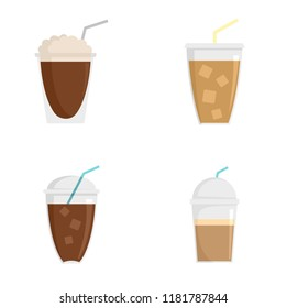Ice coffee cream cold brew cup icons set. Flat illustration of 4 Ice coffee cream cold brew cup vector icons for web