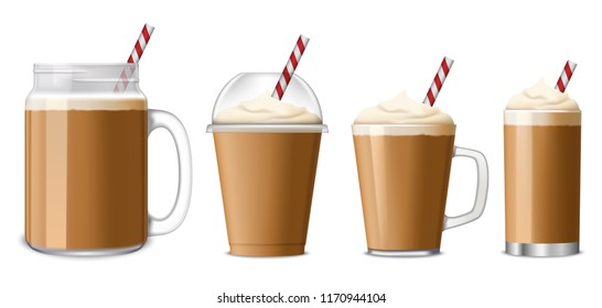 Ice coffee icon set. Realistic set of ice coffee vector icons for web design isolated on white background