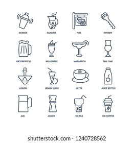 Ice coffee, Tea, Jigger, Jug, Juice bottle, Shaker, Oktoberfest, Liquor, Margarita outline vector icons from 16 set