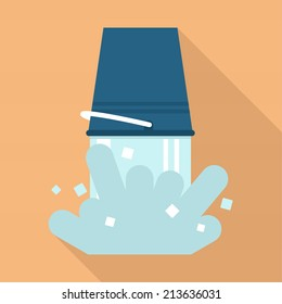 Ice cold water spilling from blue bucket flat vector icon with long shadow on beige background | Ice bucket challenge | Water with ice cubes pouring from bucket