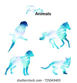 Ice collection of geometric polygon animals. Parrot, horse, cat, dog. Vector illustration.