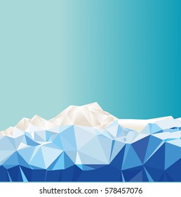 ice covered landscape, low poly style
