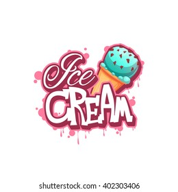 Ice cream banner with pink drops. Vector illustration.