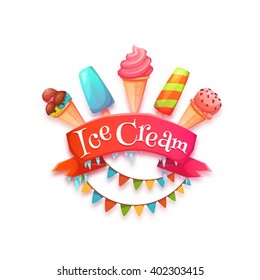 Ice cream banner with red ribbon. Vector illustration.
