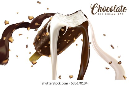 Ice cream bar with creamy flowing chocolate and milk liquid with nuts isolated on white background in 3d illustration
