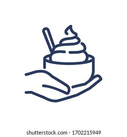Ice cream bowl in human hand thin line icon. Spoon, summer sweet snack, customer isolated outline sign. Food and dessert concept. Vector illustration symbol element for web design and apps