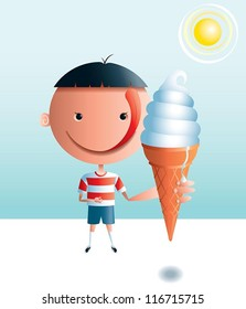 Ice Cream Boy A boy with a big head and a big tongue is looking forward to eating an ice cream cone on a hot day.