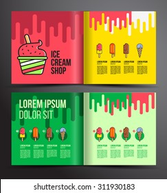 Ice cream brochure design. Menu for ice cream shop.