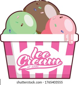 Ice cream bucket with lettering