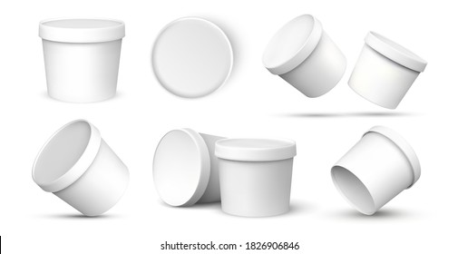 Ice cream buckets. Realistic blank white mockup of ice cream paper food container in different views. Vector isolated illustration empty 3D template for packaging presentation