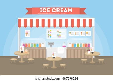 Ice cream cafe interior. Counter with ice cream menu and tables for people.