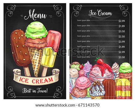 ice cream cafe restaurant price menu stock vector royalty free
