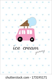 ice cream car poster template vector/illustration / layout design/ background/ greeting card