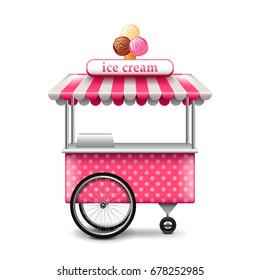 Ice cream cart isolated on white photo-realistic vector illustration