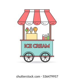 Ice cream cart on wheels - sweet frozen food kiosk . Vector illustration element of truck with dessert isolated on white background.