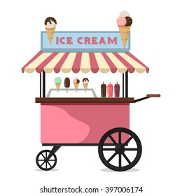 Ice cream cart sweet frozen food kiosk vector. Ice cream cart market and stand ice cream cart. Ice cream cart delicious trolley and ice cream cool cart summer shop of sweet cold food cartoon vector.