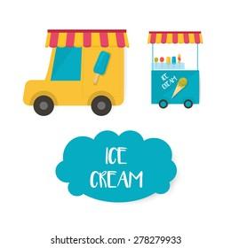 ice cream cart, vector ice cream