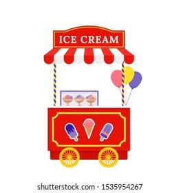 Ice cream cart. Vector. Icecream street trolley. Vintage kiosk in amusement park. Circus carnival stall. Flat design. Funfair festival pushcart. Cartoon illustration. Icon isolated on white background