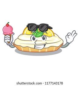 With ice cream cartoon lemon cake with lemon slice
