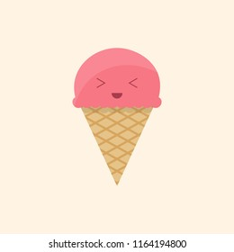 ice cream characters with happy faces