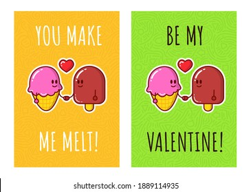Ice cream characters in love. Greeting cards for valentines day. Vector.