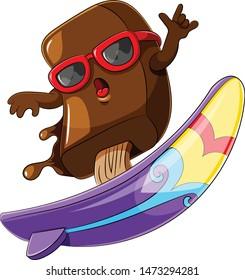 ice cream chocolate cartoon surfing