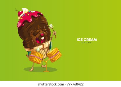 Ice cream chocolate music character funny