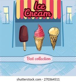 Ice cream , chocolate, raspberry, sketch, illustration