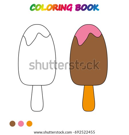 Ice Cream Coloring Page Worksheet Game Stock Vector Royalty Free