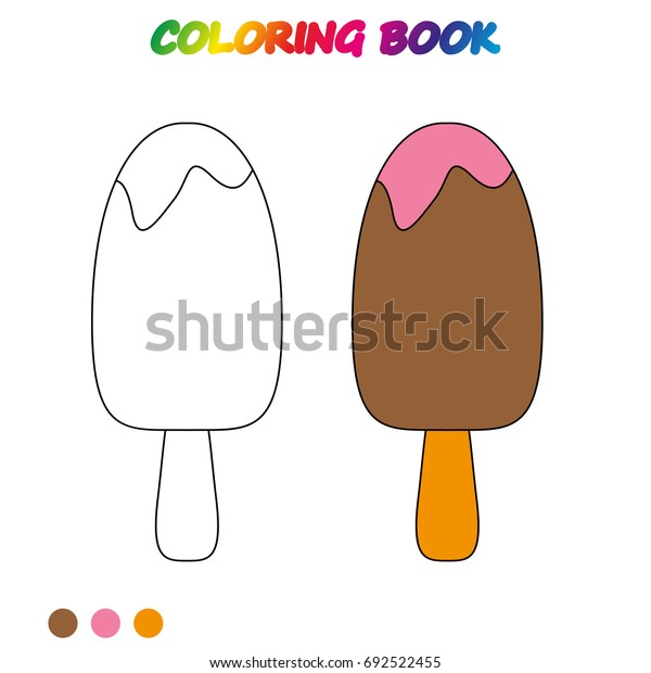 Ice Cream Coloring Page Worksheet Game Stock Vector (Royalty Free ...
