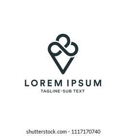 Ice cream company logo design template, an abstract Ice cream logotype vector icon, business