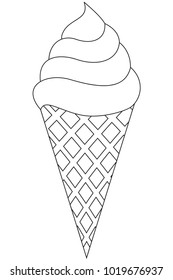 Ice cream cone black and white line art icon. Coloring book page for adults and kids. Summer fast food vector illustration for gift card, flyer, certificate or banner, icon, logo, patch, sticker