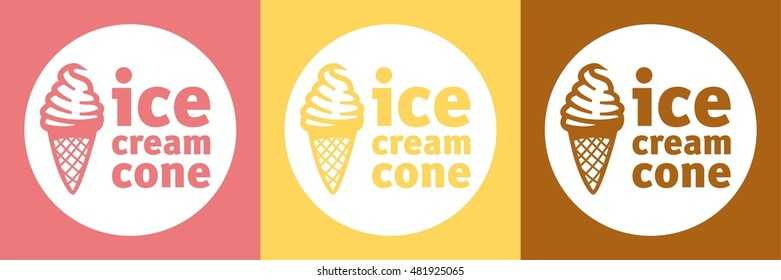 ice cream cone icon of set