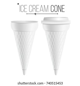 Ice Cream Cone Mock Up Vector. 3D Realistic Blank. Clean Packaging. For Dessert, Sour Cream. Isolated Illustration.