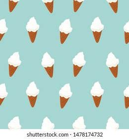 Ice Cream cone seamless pattern. soft cream vector.