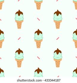 Ice cream cone seamless pattern. Summer pattern. Ice cream flat vector illustration.