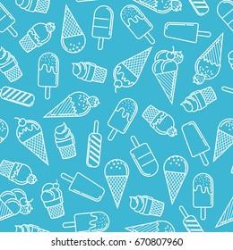 Ice cream cone seamless pattern in blue background. Ice cream line illustration background.