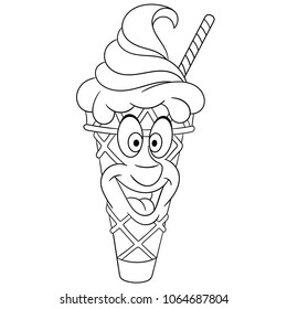 Ice Cream Cone Summer Coloring Page Happy Dessert Food Concept Funny Emoticon Smiley