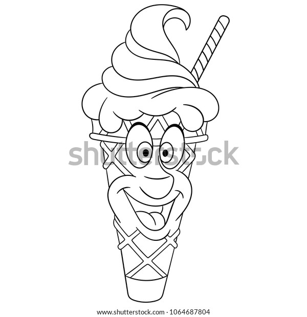 Ice Cream Cone Summer Coloring Page Stock Vector (Royalty Free) 1064687804