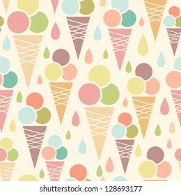 Ice cream cones seamless pattern background