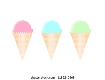 ice cream cones set with three colors on white background. vector illustration design.