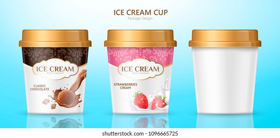 Ice cream cup package design for different flavors on blue background in 3d illustration
