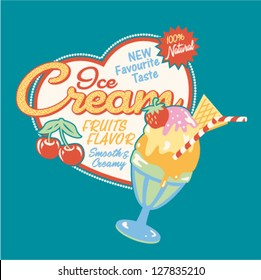 Ice cream cup - Vector print for girl t shirt in custom colors