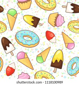 Ice cream, cupcake and donut. Vector seamless pattern with sweet food