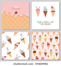 Ice cream cute cards and seamless pattern set. Kawaii cartoon characters. Wafer surface with melted strawberry cream. Hello summer design.