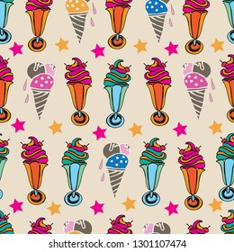 Ice Cream Delight-Sweet Dreams seamless repeat pattern illustration . 60 s style background in pink, blue,orange,green, red, and cream. Fun Pattern background.Perfect for fabric, scrapbook, wallpaper.