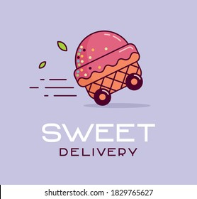 Ice cream delivery logo. Ice cream in a waffle on wheels goes fast.