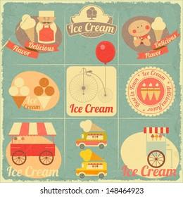 Ice Cream Dessert Vintage Menu Cover in Retro Style - Set of Ice Cream Design Elements. Vector illustration.